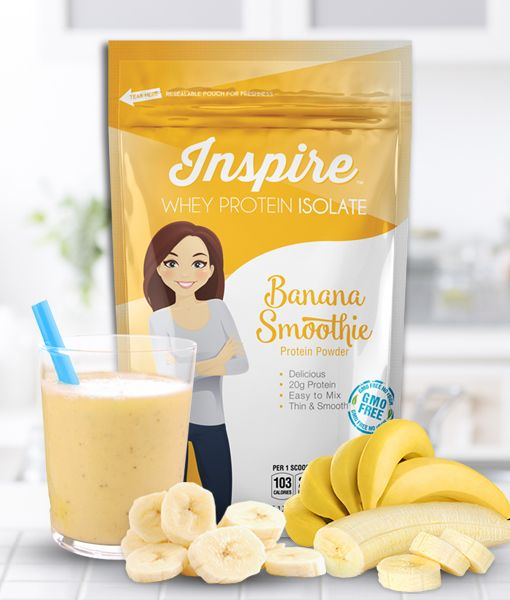 inspire banana smoothie protein powder (1 scoop, 100 cal, 0.5 g fat)