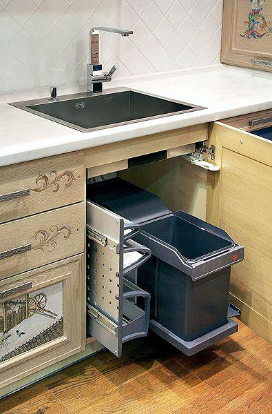 Встроенное мусорное ведро и хранение моющих средств