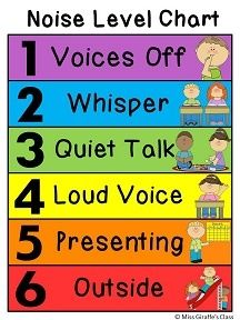 Noise Level Clip Chart (couple different varieties) - Great idea so kids always know what voice level to use and you don't have to always be telling them, can even make it a job for a kid to change it to Level 3 during literacy stations each day and 2 during independent work, etc.