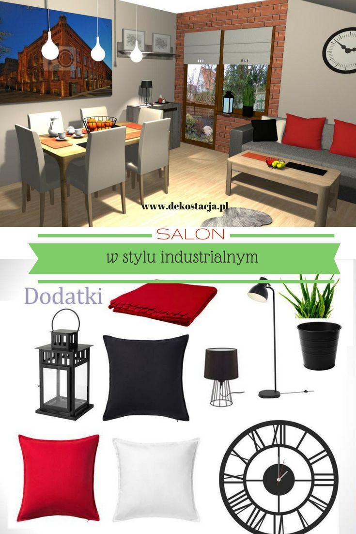 Projekt salonu w stylu industrialnym #wnętrze #dom #interiordesign