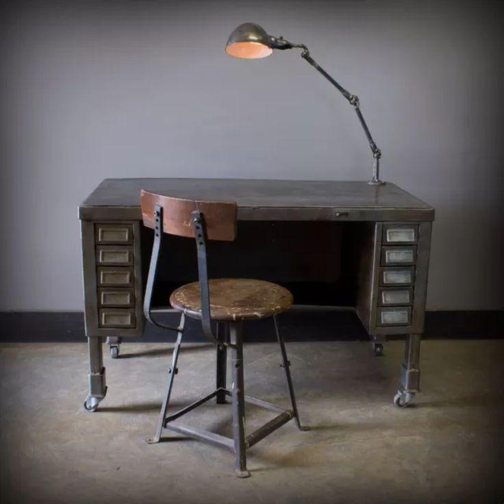 unique vintage industrial solid steel desk w fostoria lamp 10 drawers steampunk - Herman Miller Schreibtischtisch