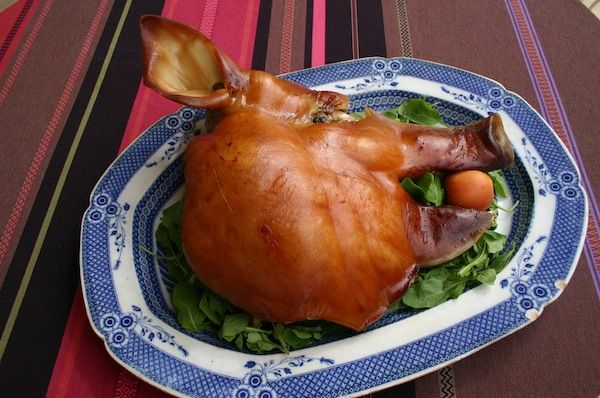 Fergus Henderson's Slow Roast Pig's Head (Anne Willan) (50 Most Influential Women in Food, #27).