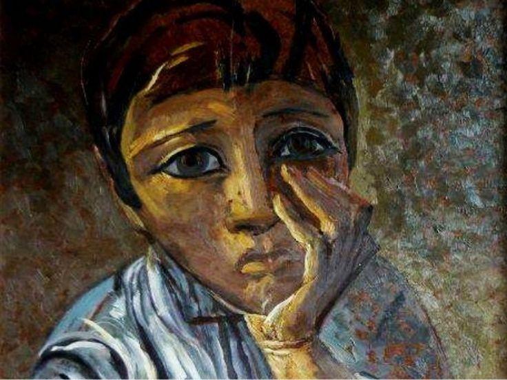 """Detalle de """"Niño pensando (1958)"""" Lino Enea Spilimbergo"""