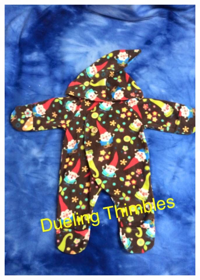 Baby Fleece Onesie Sewing and Serger Pattern Gnome Fabric