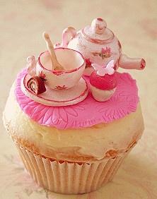 Pink tea set cupcake. How clever....