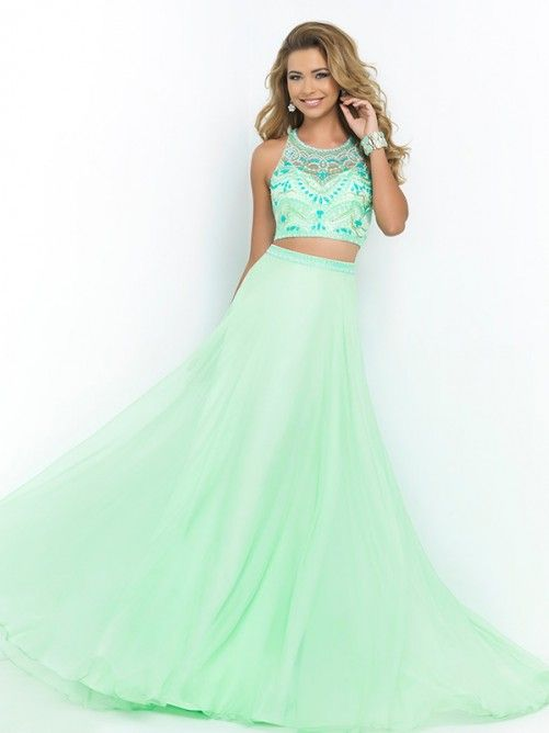 Princess Scoop Sleeveless Beading Floor-length Chiffon Wear