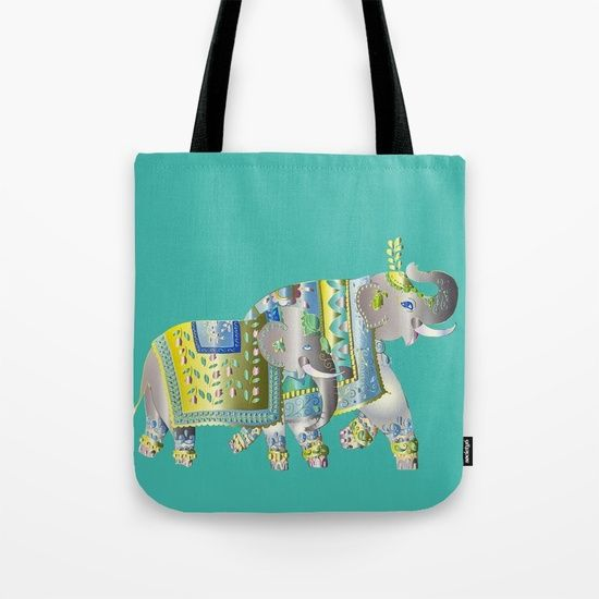 Pair Of Indian Elephants Tote Bag