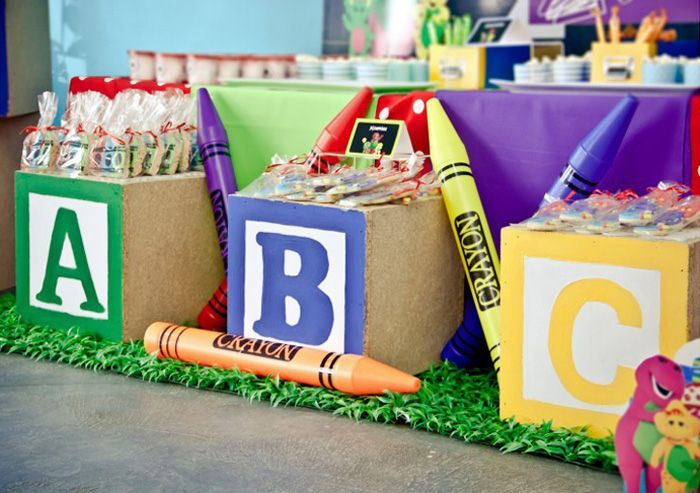 Giant Block Sweet/Favor Tables from a Barney & Friends ABC Birthday Party via Kara's Party Ideas | KarasPartyIdeas.com (17)