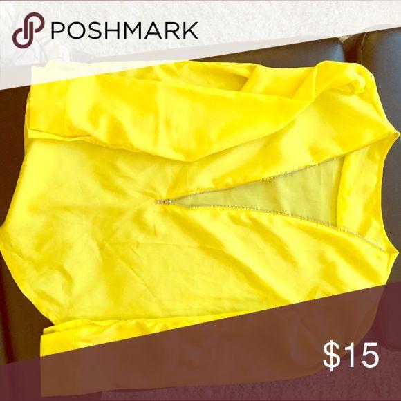 Yellow zip blouse Satin yellow zip up blouse Tops Blouses