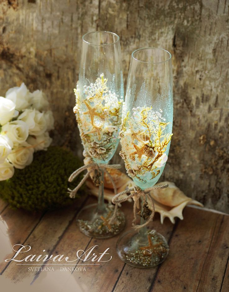 #personalized #beach #wedding #champagne #glasses #wedding #champagne #flutes #wedding #toasting #flutes - pinned by pin4etsy.com