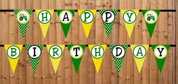 Tractor Happy Birthday Banner, John Deere Inspired Birthday, Farm Birthday Banner, Tractor Sign INSTANT DOWNLOAD