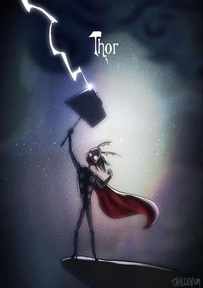 Les super héros façon Tim Burton par Tarusov : Thor