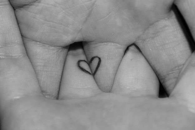 74 Matching Tattoo Ideas To Share With Someone You Love...such a simple and discreet symbol, like this one....wonder if you could do the heart and infinity sign together.