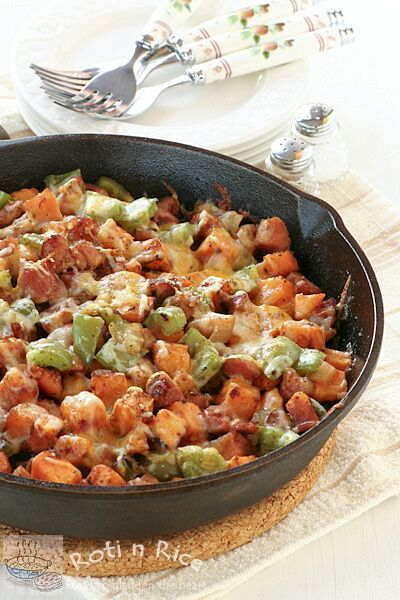 Sweet Potato, Ham, and Cheese Skillet