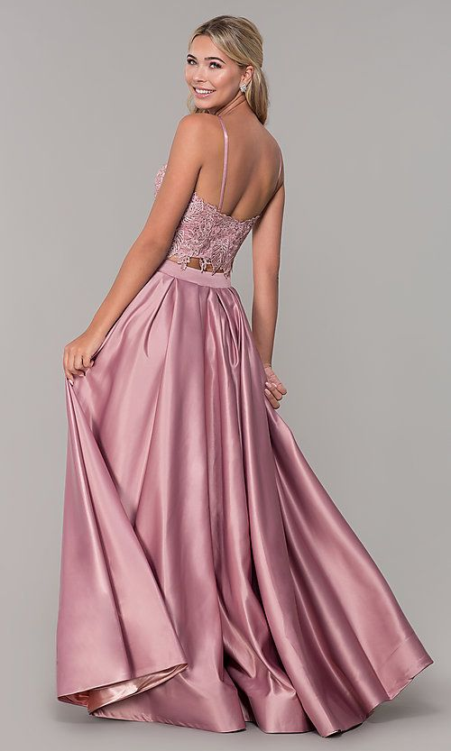 b24d280f Image of square-neck lace-bodice two-piece long prom dress. Style: DJ-A6394  Back Image