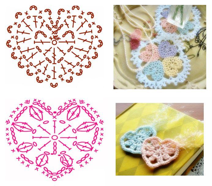 ажурные схемы вязания сердечка крючком Serce Crochet Doilies