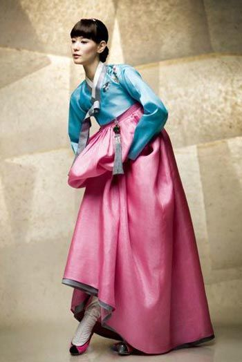 Pink and Blue Hanbok