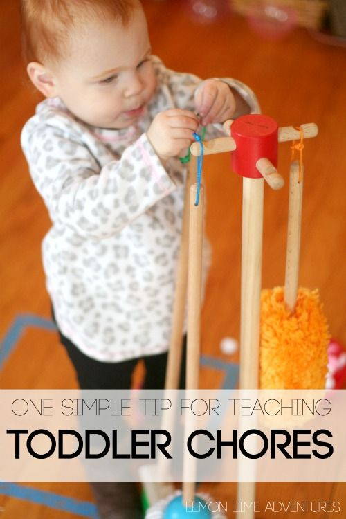 Teaching Toddler Chores: This simple tip for teaching toddler chores is super fun, quick and will have your toddler helping in no time!