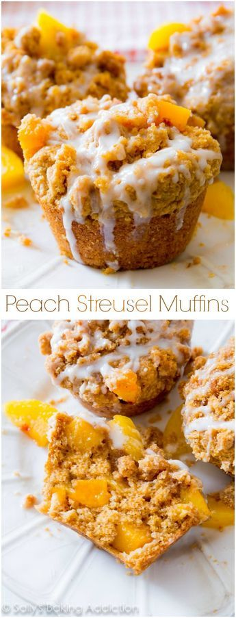 Buttery and moist, these peachy muffins are heavy on the crumb topping and vanilla glaze