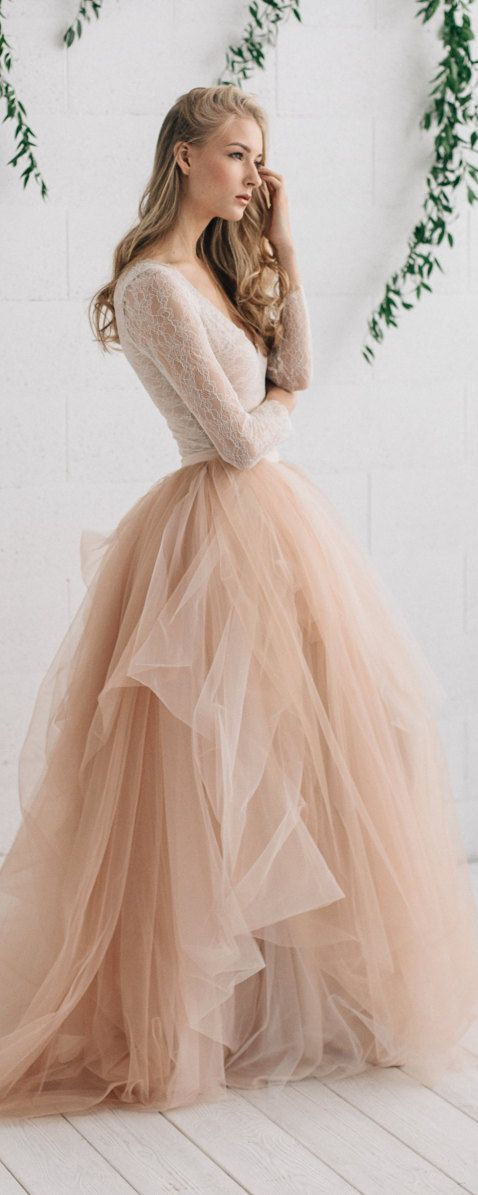 Wedding Dress , Champagne Nude Ivory Bridal Dress, Two Piece Wedding Dress, Alternative Wedding Dress , Long Sleeve Tulle Dress - MELANIE