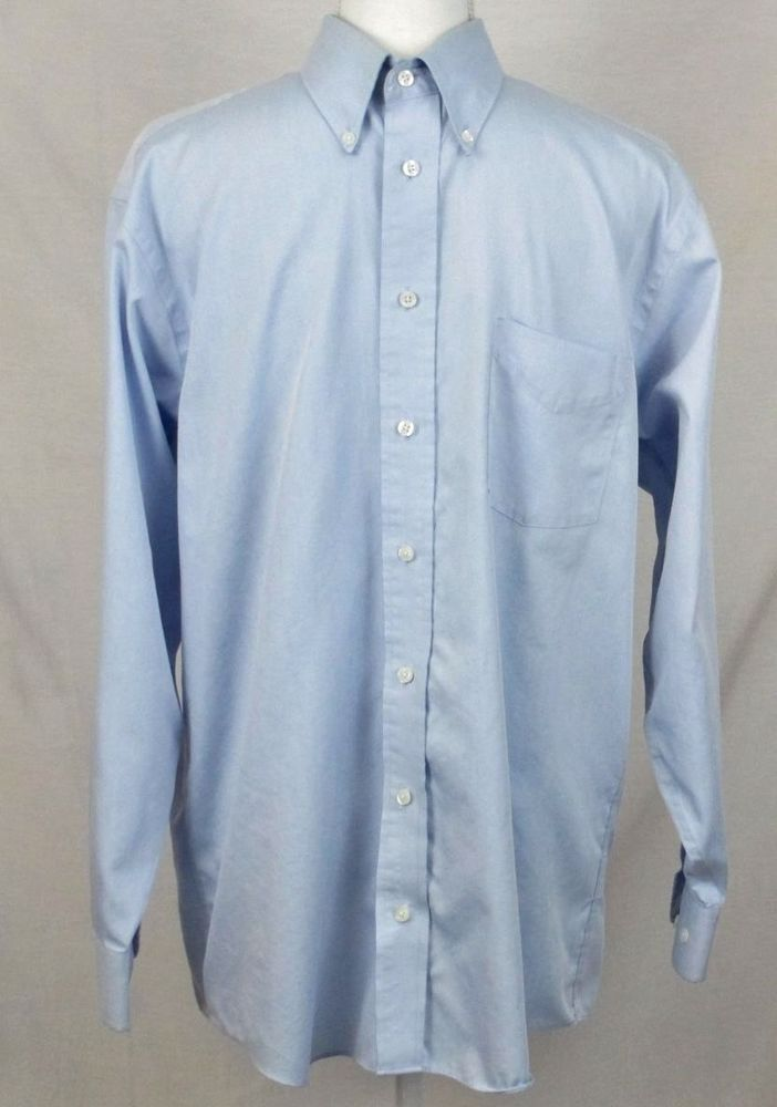 b5af98eeefb Stafford Dress Shirt 15.5 32 33 Blue Solid Long Sleeve Micro Pinpoint  Oxford  Stafford