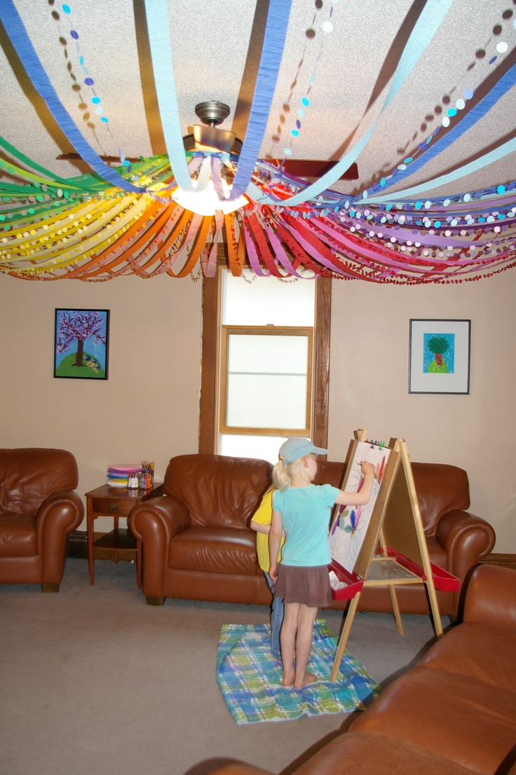 Hula hoop and streamers party decoration this site has for Ceiling streamers