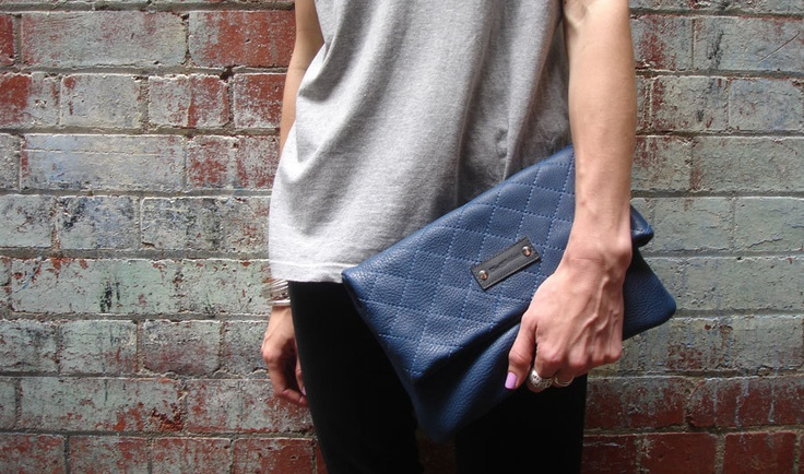 Quilted Leather Clutch in Electric Navy.