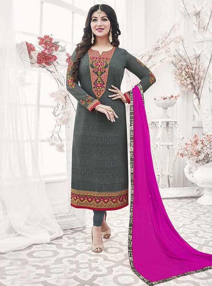 Ayesha Takia Gray Georgette Kameez With Churidar 120982