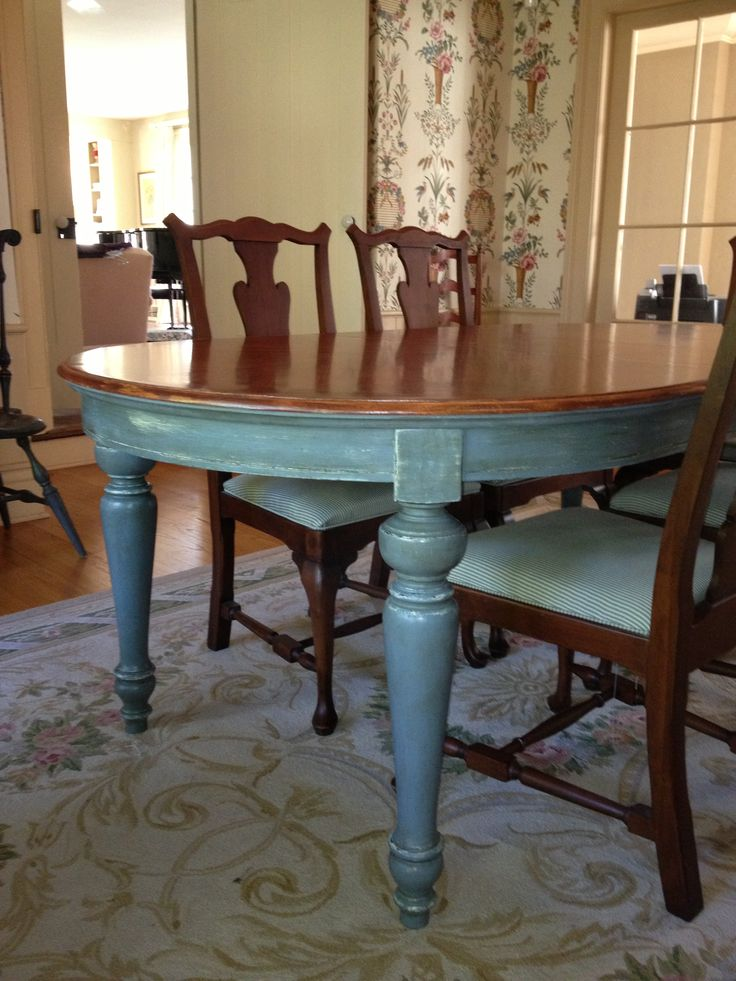 Dining room table painted with annie sloan chalk paint in a custom blue duck egg blue - Paint dining room table ...