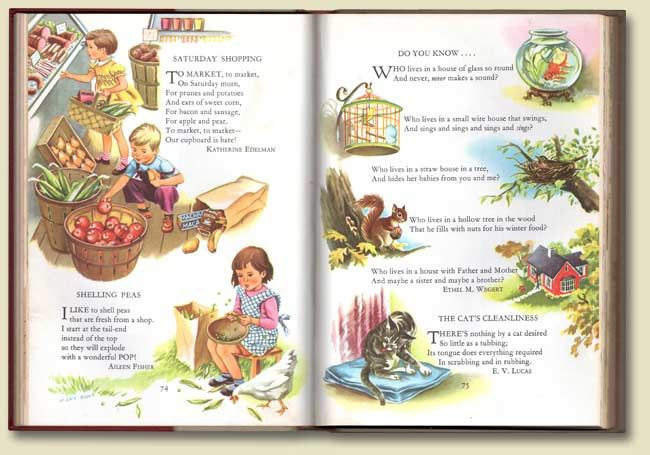 Childcraft - this is why I want the older set.  Classic illustrations, great read-aloud poetry.