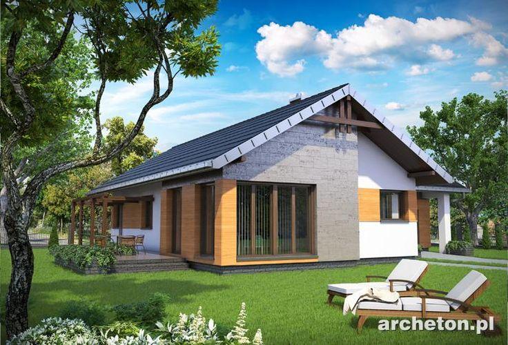 Projekt domu Żuczek Sto - nowoczesny dom parterowy rzucie w kształcie litery T