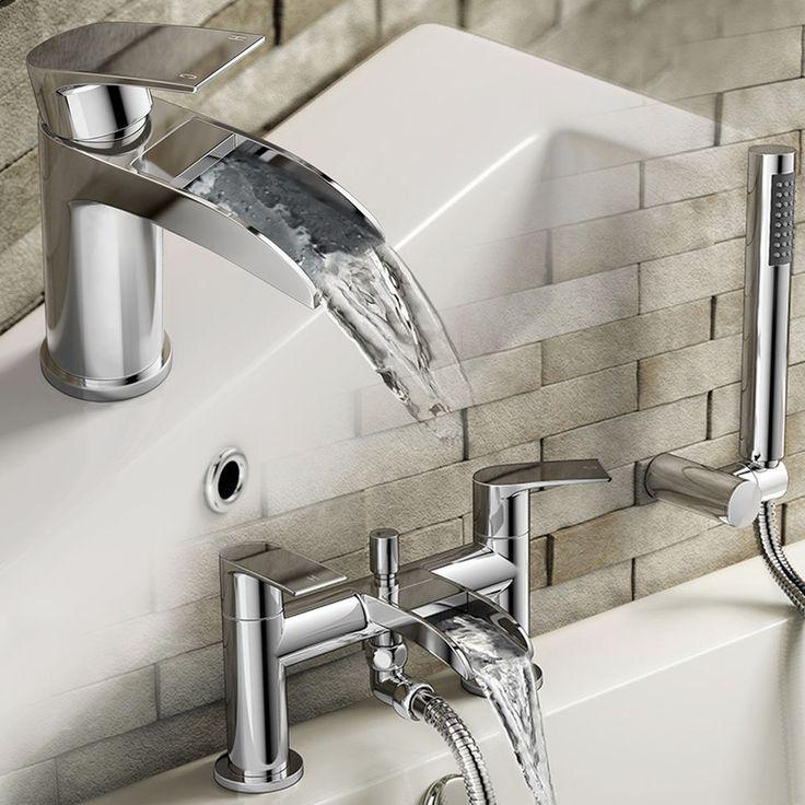 Modern Chrome Waterfall Basin Tap & Bath Handheld Shower Mixer Bathroom TP3451