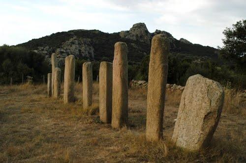 Alignement de menhirs - Site de Cauria. France, Corsica, Sartene.