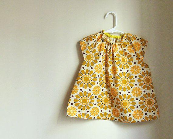 Baby smock 12 yrs  mustard wallpaper flowers by oktak on Etsy