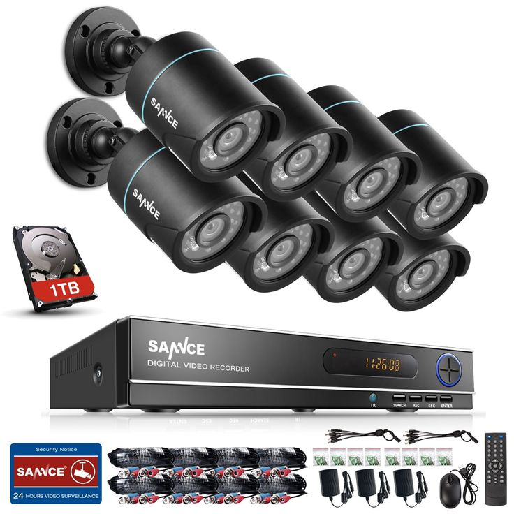 This is a SANNCE 8CH DVR Security Camera System with 1TB Hard Drive. Includes 8 Outdoor CCTV Cameras with IP66 Weather-Proof Metal Housing and Motion Detection. Video quality is 720P with 85' of night vision