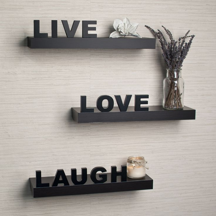 DanyaB Decorative Live, Love, Laugh Wall Shelves (Set Of