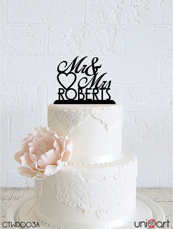 Mr & Mrs Personalized Wedding Cake Topper, Customizable Lastname, Removable Stakes, Free Base for After Event, Gift, Keepsake CTWD003A