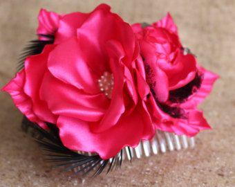 Fuchsia flower Hair Comb, black lace Fuchsia Rose Prom flower,Wedding Hair Comb,Rose HairPiece,Bridal bridesmaid girl woman Flower Hair Comb