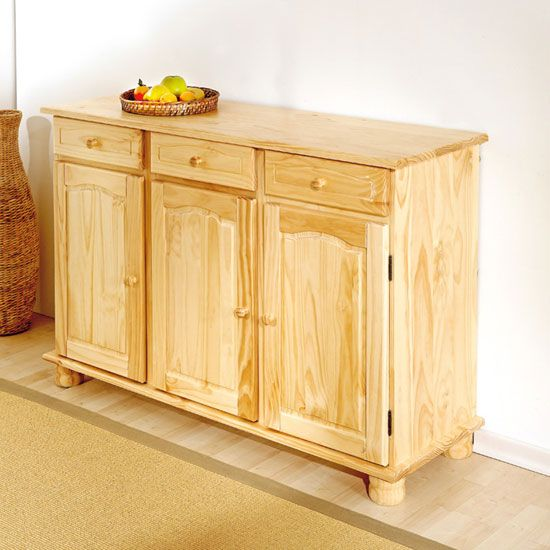 Abaco Solid Pine Sideboard In Natural With 3 Door And Drawer