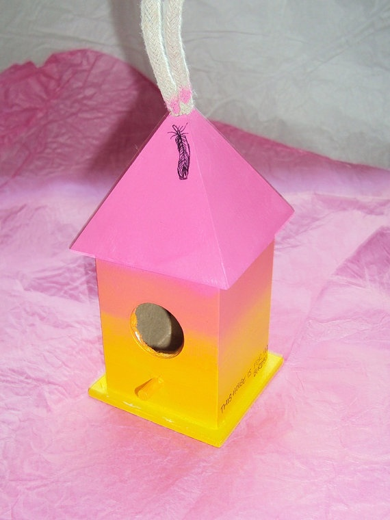 Pink and yellow Feather Bird House via Etsy
