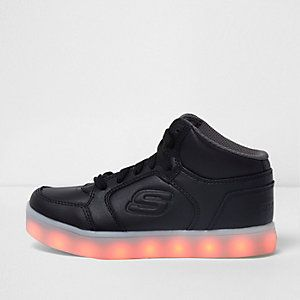 Kids black Skechers light-up hi top