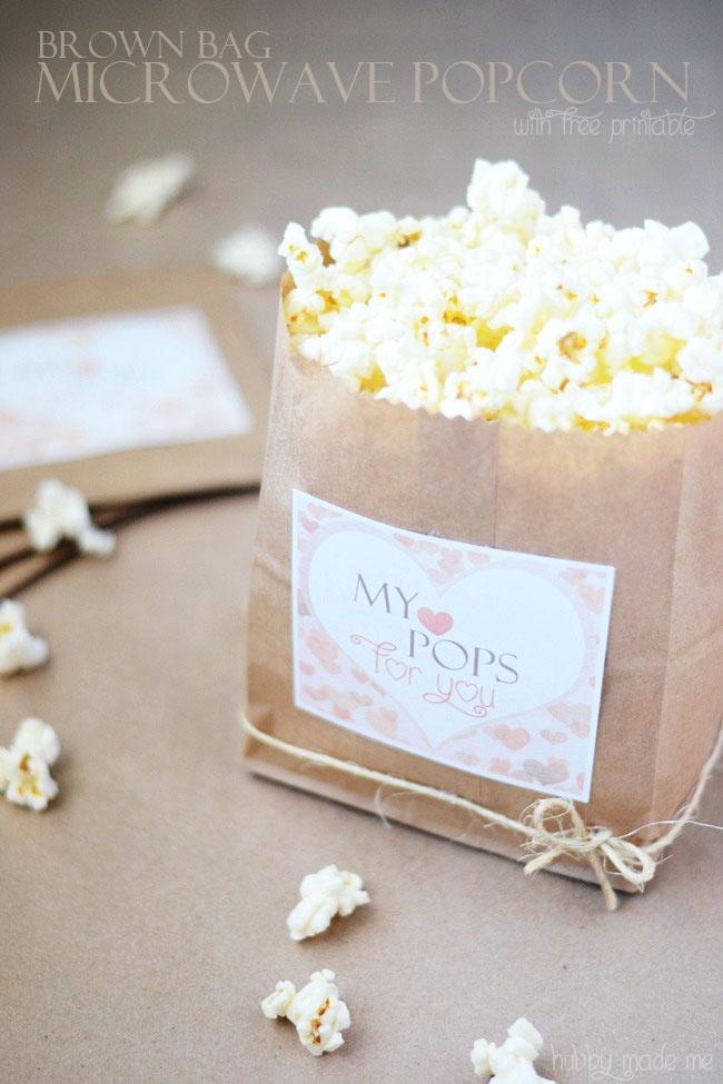 Brown Paper Bag Popcorn and Free Printable - love the printable!