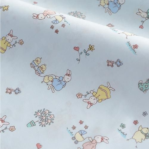 little blue rabbit cartoon 100% cotton twill cloth kids  DIY patchwork textile quilting fabric for sewing home decor by meter