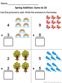 ... Kindergarten Free worksheets - math - addition sums 1-10, vertical