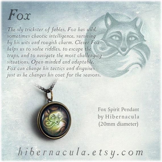Fox Spirit  Brass Animal Totem Pendant by Hibernacula on Etsy, $26.00