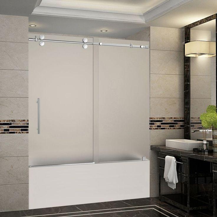 1000 ideas about frameless sliding shower doors on for Sliding glass doors tub