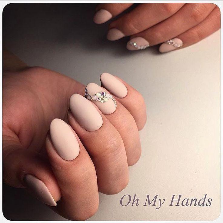 Autumn nails, Beautiful nails 2017, Fall matte nails, Fashion matte nails, Ideas of matte nails, Matte nails, Oval nails, Pale fall nails