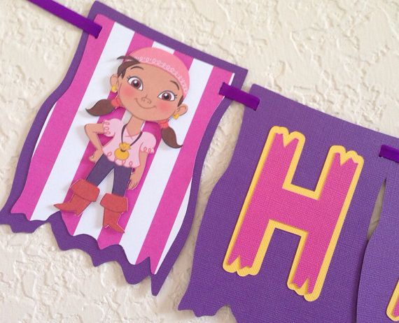 Izzy and jake birthday banner, izzy the pirate birthday banner ...