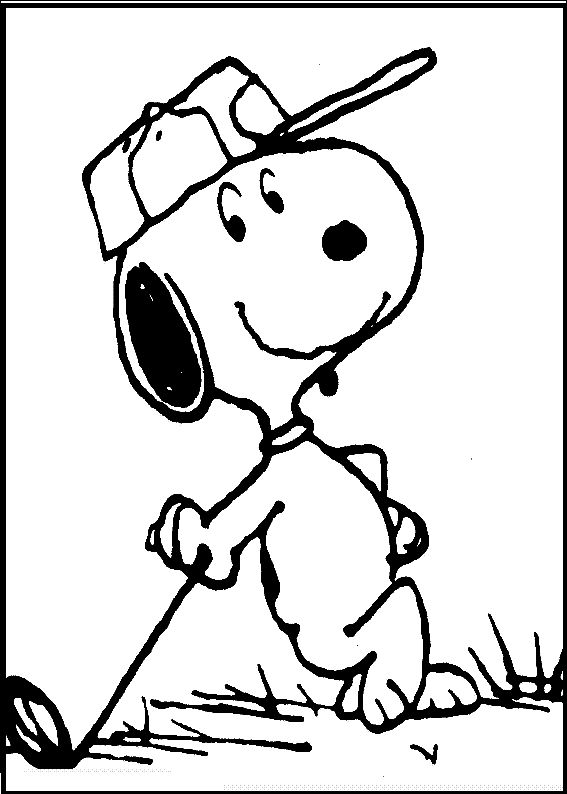 Snoopy Playing Golf coloring picture for kids Snoopy