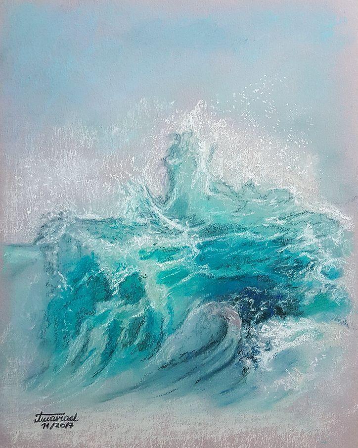 "Polubienia: 36, komentarze: 2 – Amaviael (@amaviael) na Instagramie: ""Wave. Soft pastels on @cansonpaper Canson Mi-teintes flannel grey paper. #softpastelsdrawing…"""